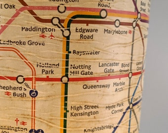 London Tube Map lampshade ~ weathered & distressed finish, Tall/XL size