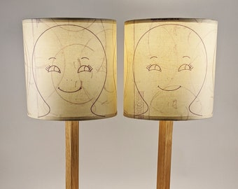 Face lamps - art lighting pieces - buy as a set or separately, unique one-off up-cycled vintage