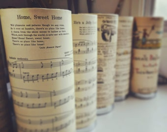 Vintage Music Sheets, assorted Cylinder table lamps
