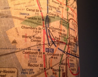 NYC Vintage Map Lamp - New York City, Manhattan, Big Apple