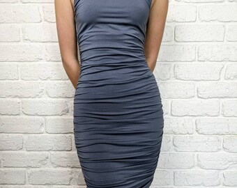 Kookai Ruched dress - Steel Grey - 1980's bodycon style