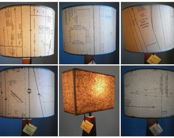 Lamp shades with Vintage Industrial Chic.  Recycled.  Upcycled. Repurposed.