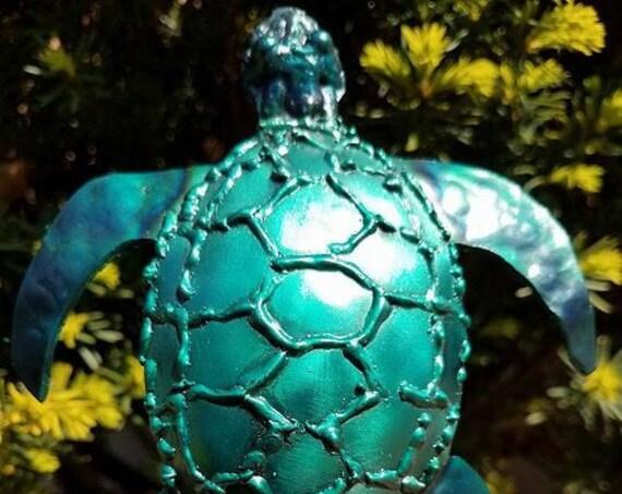 "Recycled metal decor, sea turtle garden stake, 18"""