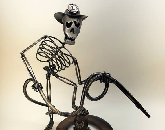 Firefighter - Figurines - Metal Skeleton - Gift for Him - Collectible Art - Signed and Numbered - Firefighter Art - Fireman Decor