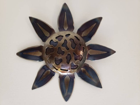 Recycled Metal Flower - Original Wall Art - 3d Wall Decor - Botanical Wall Art - Metal Lotus Flower - Modern Wall Decor - New Age Art