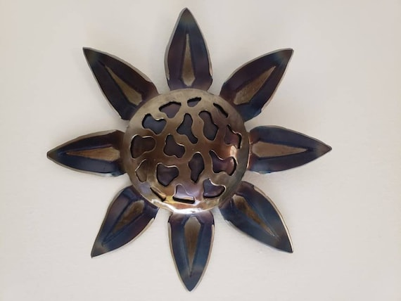 Modern Flower Art - Floral Wall Decor in Metal- by 2ndchancemetalart - Recycled Metal Flower - Contemporary Wall Sculpture - Heat Patina