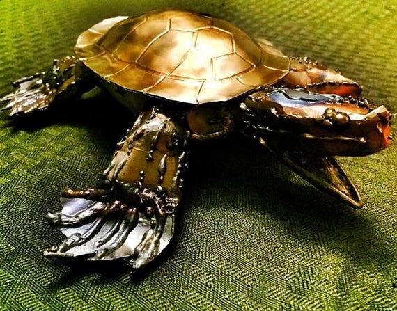 """Turtle metal sculpture, 10"""", hand made, signed steel sculpture, indoor/ outdoor"""
