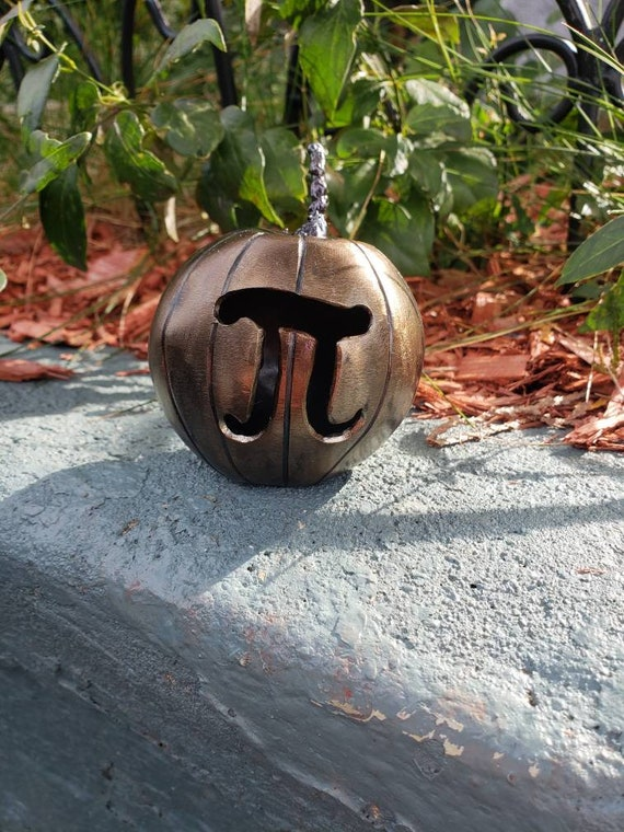 Pumpkin Pi- Jack O Lantern -Math Major Gift - Welded Art - Metal Pumpkin- Classroom Decoration - Fun Seasonal Decor - by 2ndchancemetalart