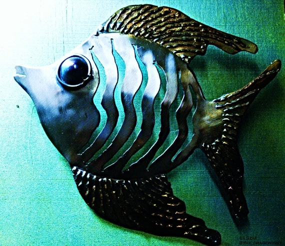 "Metal wall art - angel fish - welded wall decor - for home or business - 12"" fish - aquatic motif - handmade beach decor - modern beach art"