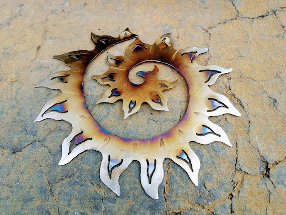 Small size - Sun Swirl - Sun Flare - Metal sun wall decor - flame painted - contemporary art - low profile - Metal Sculpture - for the home