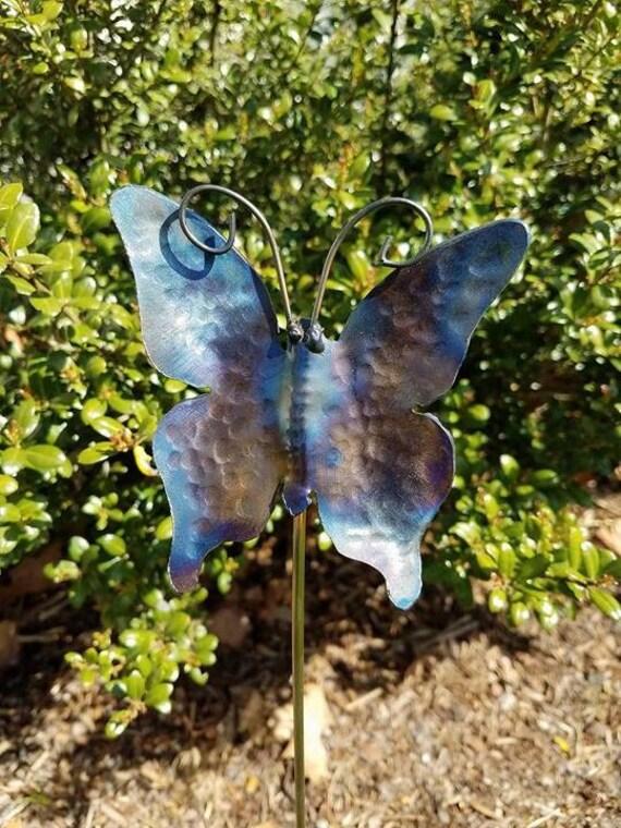 """Garden stake, Butterfly, Hand Hammered Steel, Metal garden decor, garden sculpture, 18"""""""
