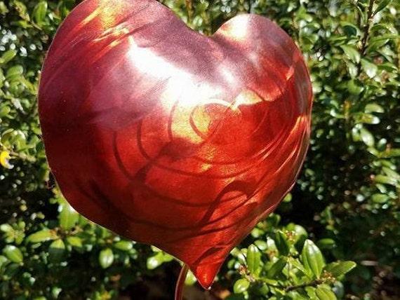 "Garden stake, heart with swirls, 18"", outdoor finish"