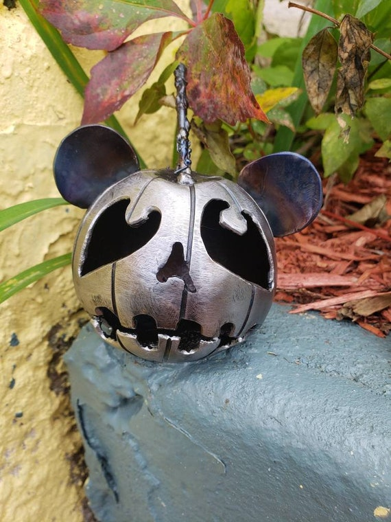 Sad Panda - Jack O Lantern -Panda Bear Art- Metal Panda - Steel Pumpkin- WWF gift - Wildlife Inspired- Little Pumpkin - by 2ndchancemetalart