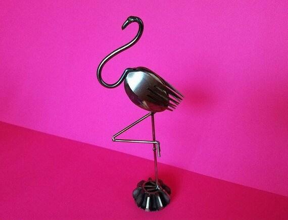 Steampunk metal - Flamingo - fork and spoon art - home decor flamingo - steel art gift, flamingo art gift - tropical bird decor - metal art