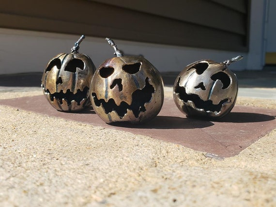 Three Little Pumpkins - Handmade Sculpture - Gift Set - Collectors Edition - Steel Pumpkins - 3D Jack O Lantern . Halloween Collectibles