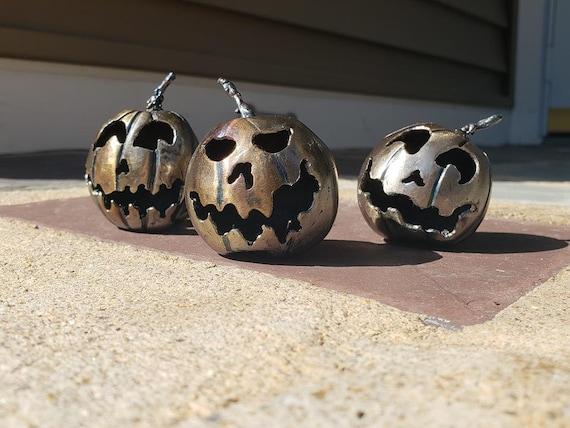 Three Little Pumpkins - Handmade Sculpture - Gift Set - Collectors Edition - Steel Pumpkins - 3D Jack O Lantern . Halloween Collectibles