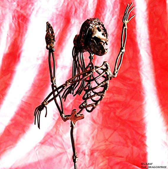 ballerina dancer metal sculpture - skeleton dance art - collectible skeleton figurine - dancing girl art - dance all night sleep all day