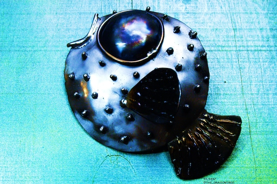 Paula the Pufferfish,metal wall decor,art gift under 50,art gift lake house,pices gift,