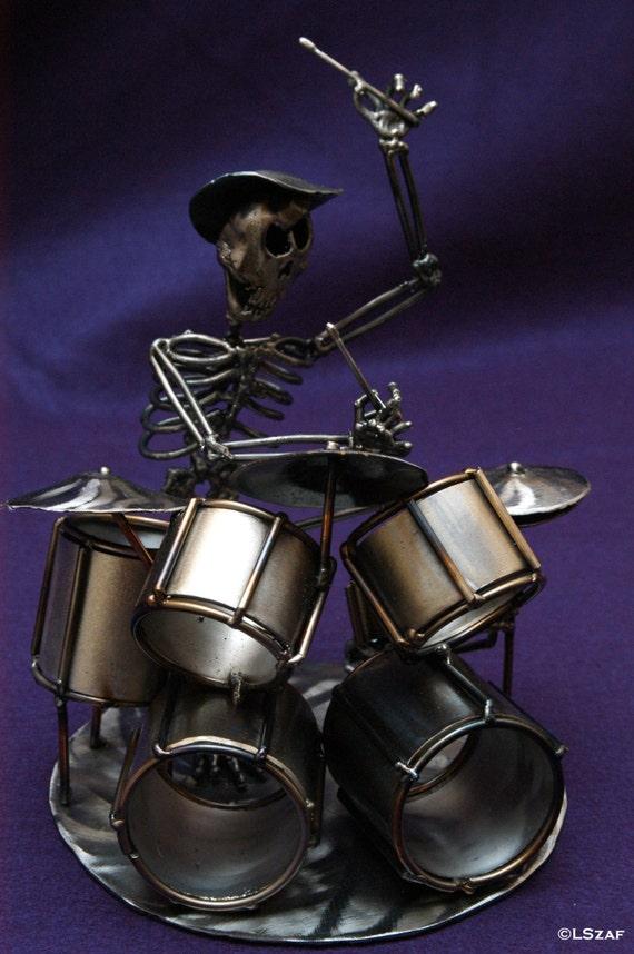 Music themed - drummer gifts - musician figurines - skeleton sculpture - metal skeleton - skeleton collection - drum decor - drum sticks