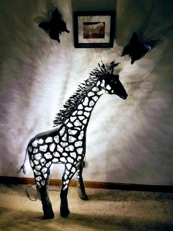 Giraffe Table Lamp - Welded Metal Sculpture - Functional Art - Fine Art Lamp - 1 1/2' Version - Giraffe Decor - Animal Theme Nursery