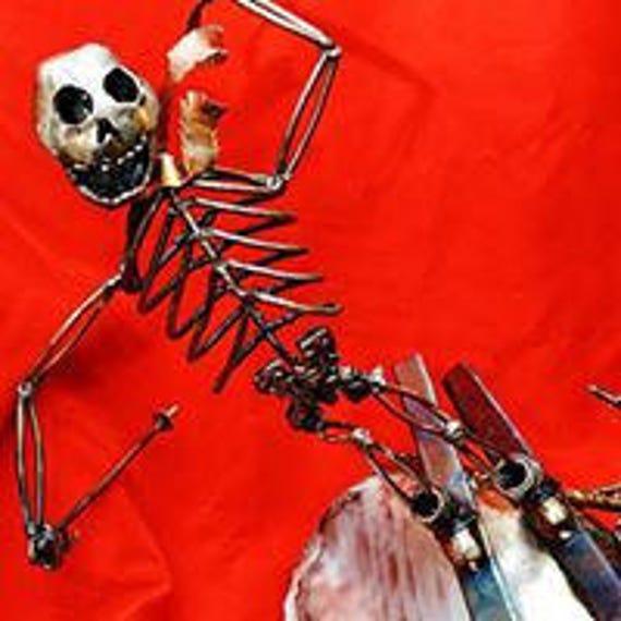 Collectible figurines - skeleton sculpture - ski lodge decor - collectible art - figurines sculpture - ski resort art - ski decor for home