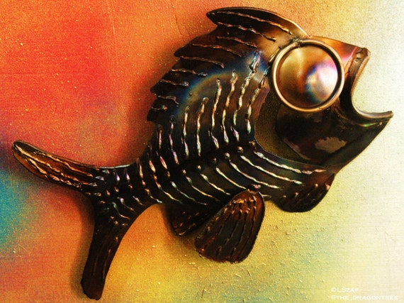 Metal Fish Sculpture - Art for the Wall - Lodge Decor - Modern Wall Art - Ocean Theme Wall Decor - Big Eyes - Fish Art -  with Heat Patina