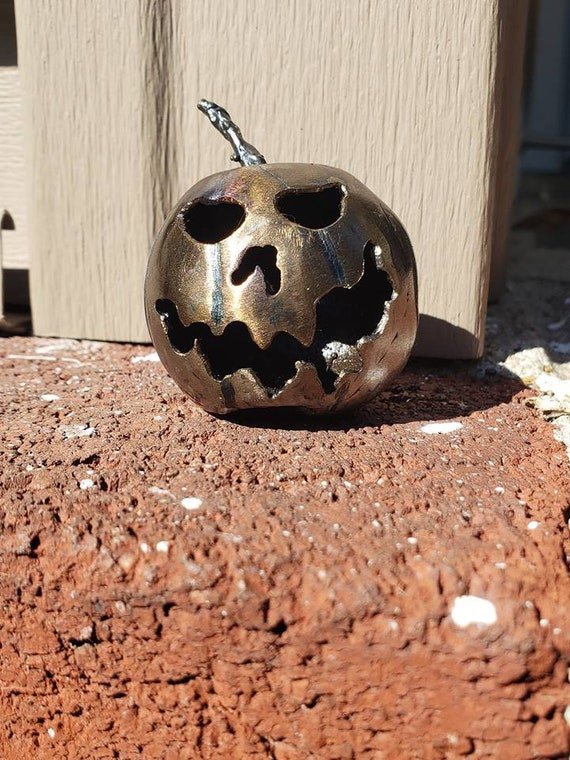 Tiny Sculpture - Halloween Decor - Pumpkin Faces - Little Pumpkin - Metal Pumpkin - by 2ndchancemetalart - 2 inch - Elroy