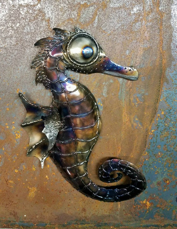 Colorful beach art- Sea horse wall decor - sea horse art - ocean sculpture, with wire hanger - bathroom wall art - sea dragon - reef decor