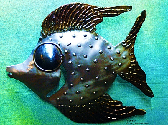 Fun wall decor - fish metal art - angel fish - ocean wall hanging - beach house fish decor - unusual wall art - welded metal fish