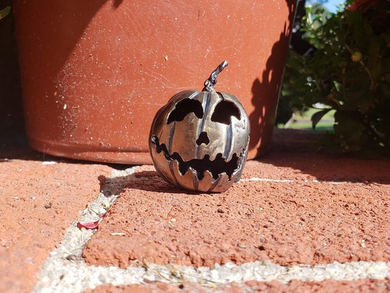 Jack O Lantern - Halloween Decoration - Pumpkin decor - Tiny Sculpture - Metal Pumpkin - collectible - by 2ndchancemetalart - 2 inch - Jack