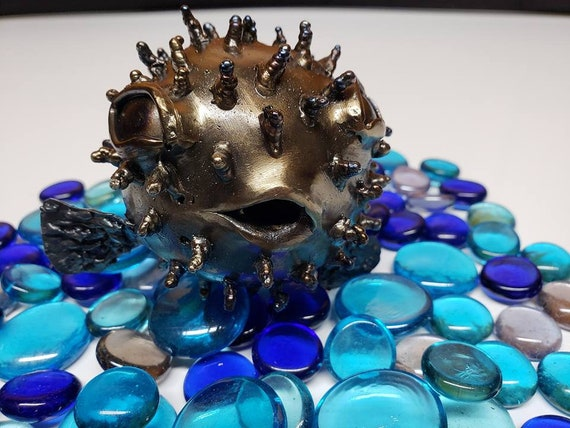 "Puffer Fish  3D Welded Metal Sculpture, small size (5"")"
