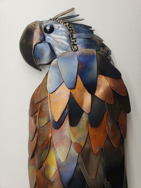 Colorful Wall Art - Metal Parrot - Recycled Metal Bird - Rainforest wall Art - Tropical Nursery Decor - Bird for Wall - Macaw Art