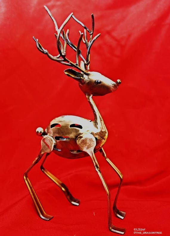 Christmas themed - repurposed silverware - metal reindeer - recycled art - slotted spoons - kitchen art deco - nature inspired - collectible