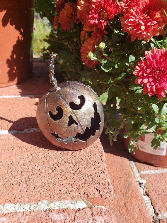 Jack O Lantern - Happy Pumpkin - 3D Sculpture - Welded Art - Welded Pumpkin - Character Art - Small - Halloween Decor - by 2ndchancemetalart