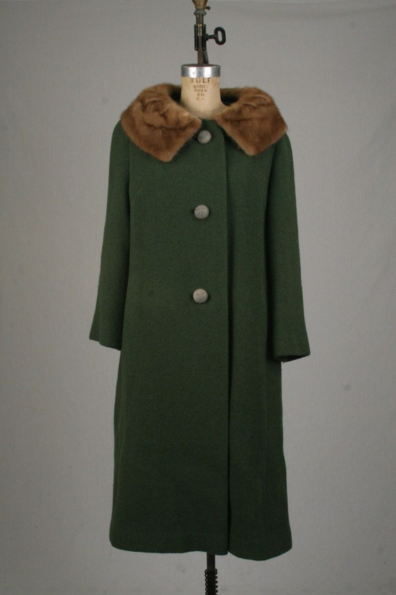 1960s Forstmann Wool Coat with Fur Collar