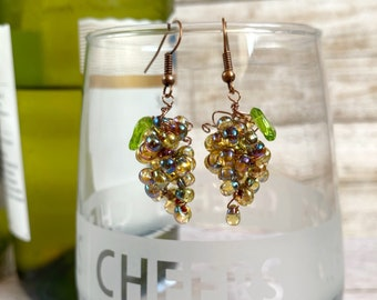 Bunch of Grapes Earrings, Prosecco Party, Champagne Lover, Girls Night In or Out, Hen Night Earrings