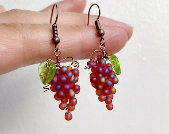 Bunch of Grapes Earrings, Red Wine Lover, Girls Night In or Out, Pinot Noir Earrings