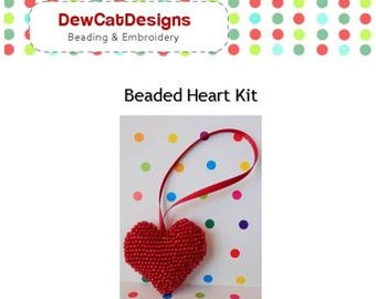 Make Your Own Beaded Heart Ornament, Bead Embroidery Kit for Beginners, Beaded Heart Pattern and Tutorial, 1 colour, 5cm x 5cm