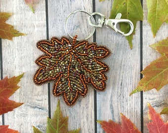 Fallen Leaf Keychain, Autumn Leaf Purse Charm, September October Birthday Gift Idea, Thanksgiving Hospitality Thank You Gift, Ready to Ship