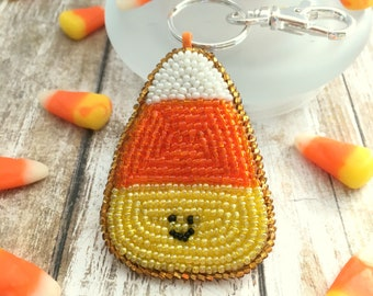 Beaded Candy Corn Keychain or Pendant, Hand Embroidered Fall Gift, Zipper Purse Backpack Charm for Student, Love It or Hate It