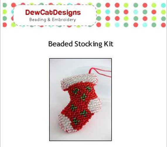 Bead embroidery kit beaded stocking to make christmas ornament bead embroidery kit beaded stocking to make christmas ornament pattern tutorial do it yourself holiday ornament new christmas crafts from solutioingenieria Images