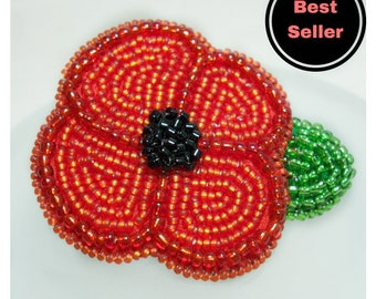 Poppy Brooch, Red Beaded Flower Pin, Remembrance Day Gifts, Made to Order, Donation to the Royal British Legion With Every Purchase