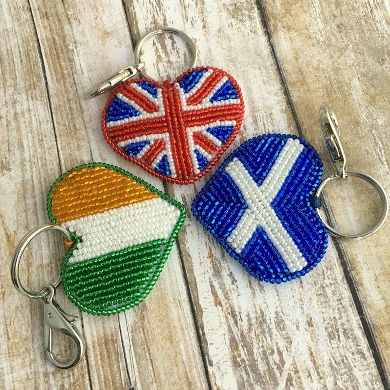 British flag necklace Beaded Crochet necklace British Bead Crochet british flag Great Britain patriotic necklace Gift for British uk flag