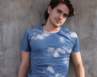 Wild Blue Yonder, sublimation print, cloud tshirt, photography shirt, Aegean blue, Aegean sea, cloudscape, allover print, sky blue, Greece