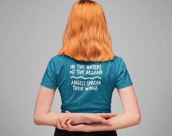 Aegean Waters, back print, Aegean, folk song, Leros, Greek music, Aegean Sea, angel tshirt, sealovers shirt, Greek lovers