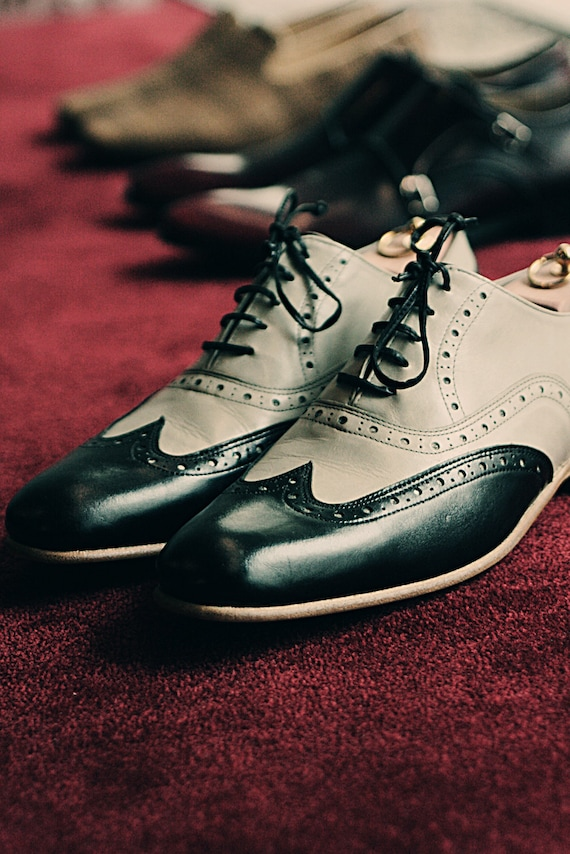 Items similar to Black and light grey Half Brogue - Handmade Leather Shoes  on Etsy 7ada67f8f6c