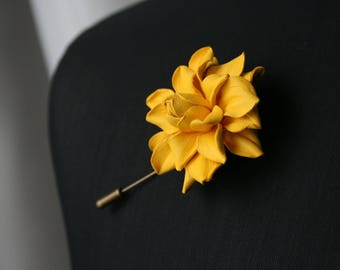 Yellow flower pin etsy yellow leather rose flower mens lapel pin rose flower brooch flower lapel pin boutonniere lapel pin wedding boutonniere mightylinksfo