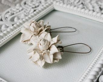 Soft cream rose leather earrings