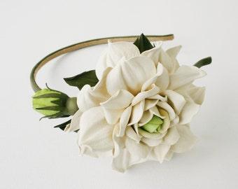 Ivory/green Leather Rose Headband