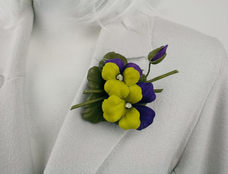 Yellow and Purple Leather Pansies Flower BroochHair Clip Fantasy Flower Brooch Stylish Floral Pin